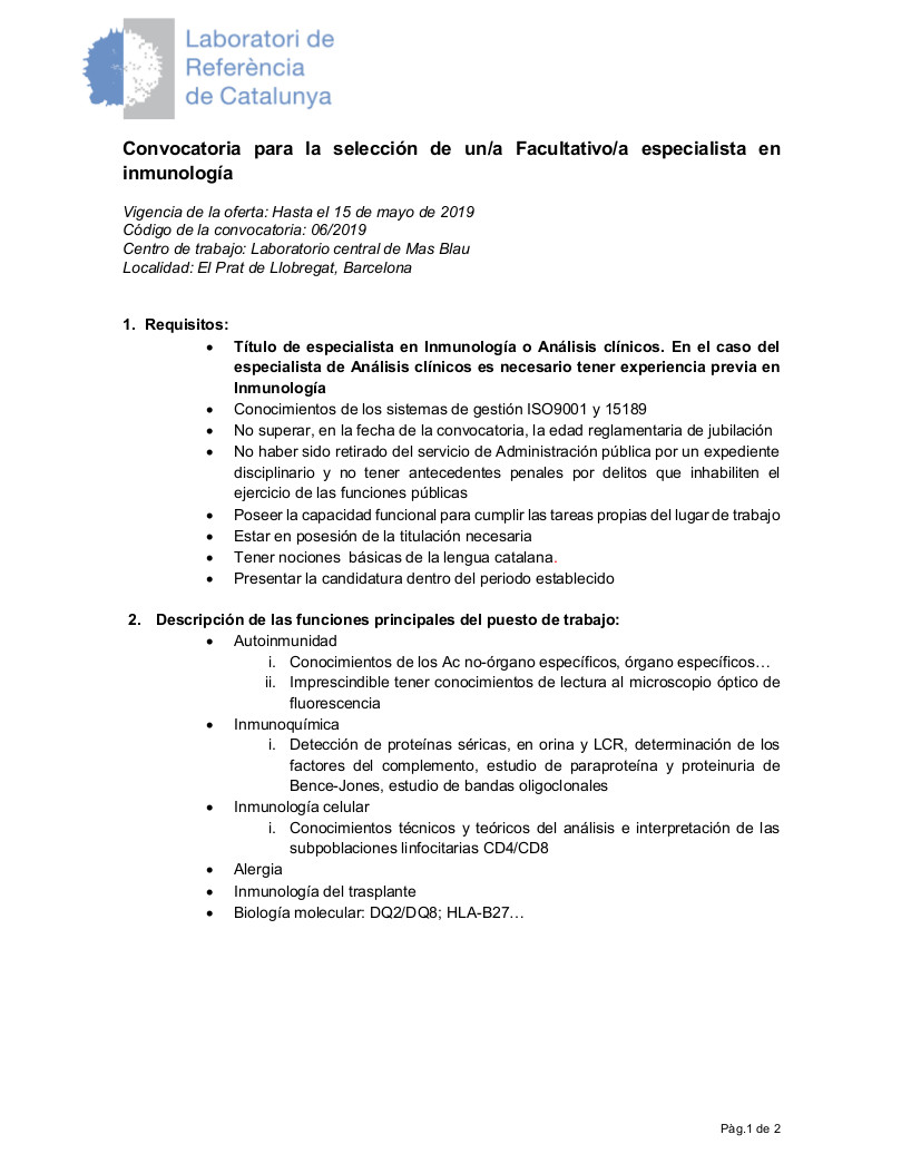 06.2019 Facultativo especialista en Immunologia_ castellano