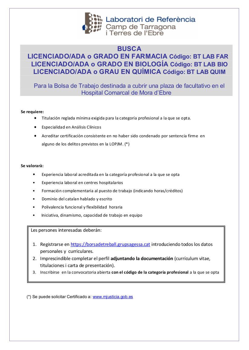 Convocatòria LRCTiTE Facultatius Castellà