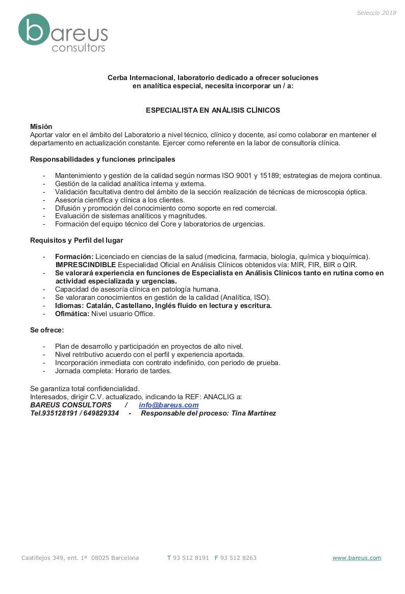 PERFIL ESP - Especialista en Anàlisis Clíniques Genèric