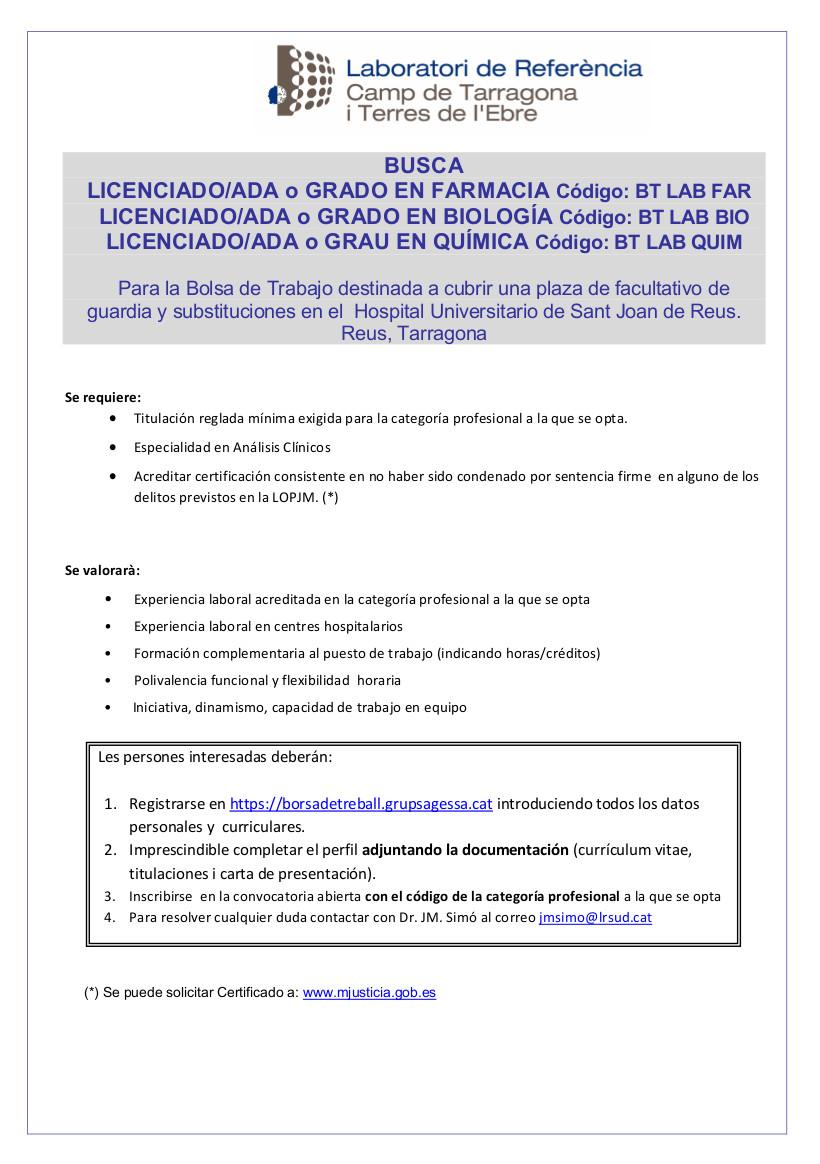 Convocatòria LRCTiTE Facultatius HUSJR Castellà 2019