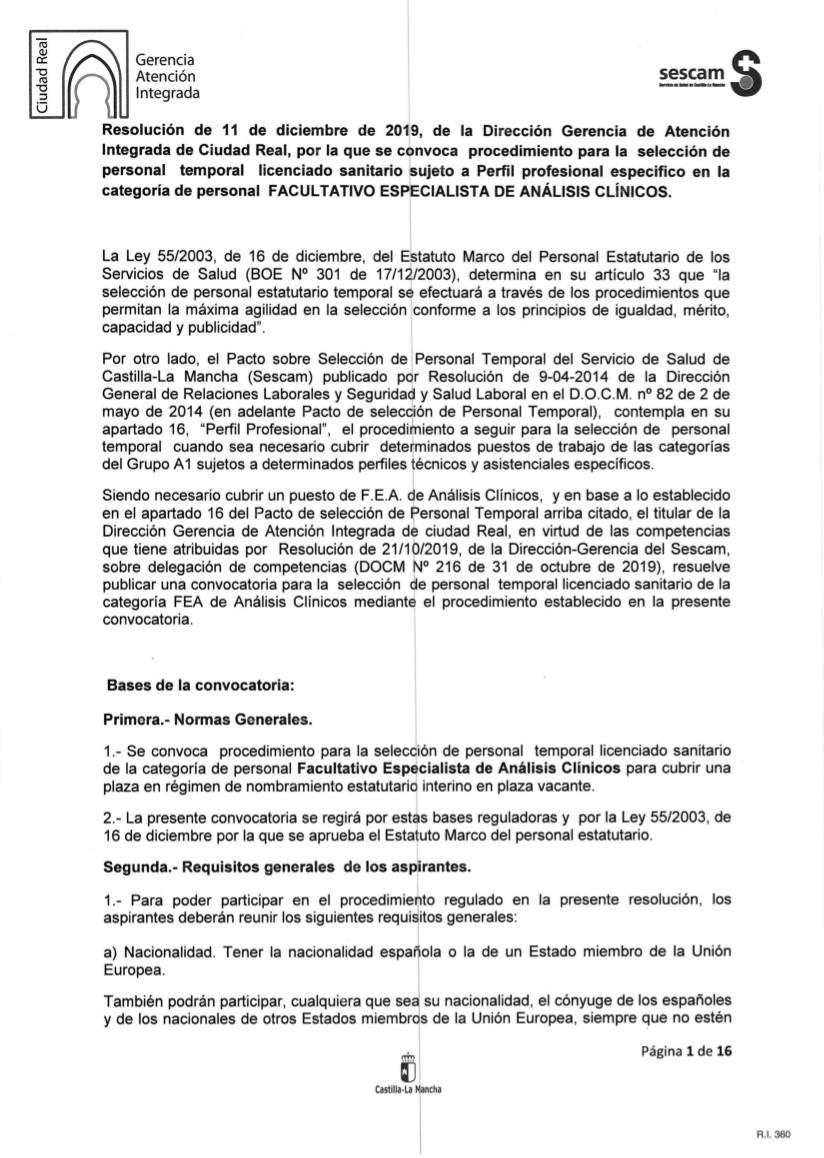 00 CONVOCATORIA 1 interinidad FEA ANALISIS CLINICOS PERFIL ESPECIFICO 11_12_19 firmada