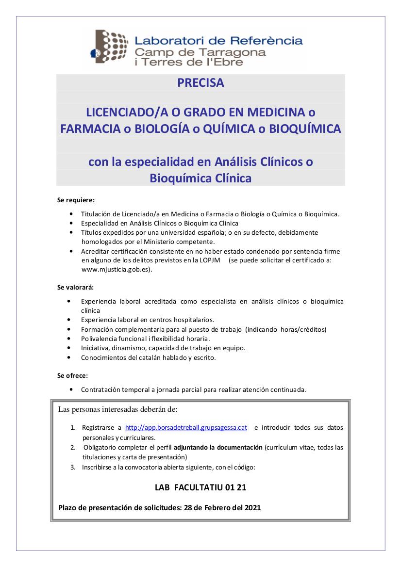 CONVOCATORIA FACULTATIVO ANALISTA LABORATORIO DE REFERENCIA TARRAGONA enero 21_1