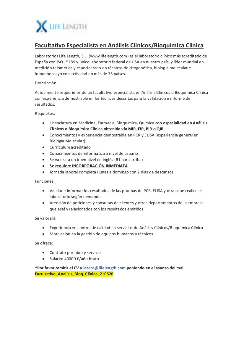 Oferta Facultativo Especialista en Análisis Bioquímica Clínica Mayo 2021-3